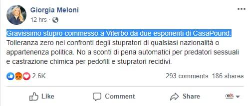 meloni casapound stupro vallerano - 1
