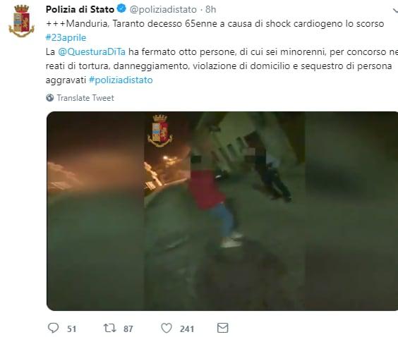 polizia di stato twitter video manduria - 2
