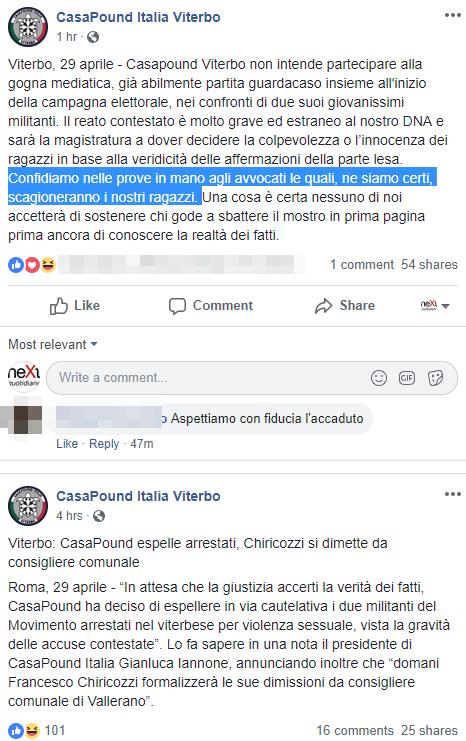 vallerano chiricozzi casapound violenza sessuale - 6