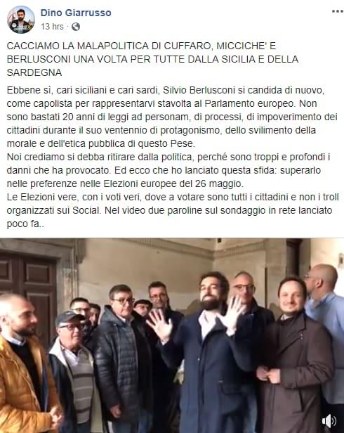 Dino Giarrusso, selfie nudo su Fb: