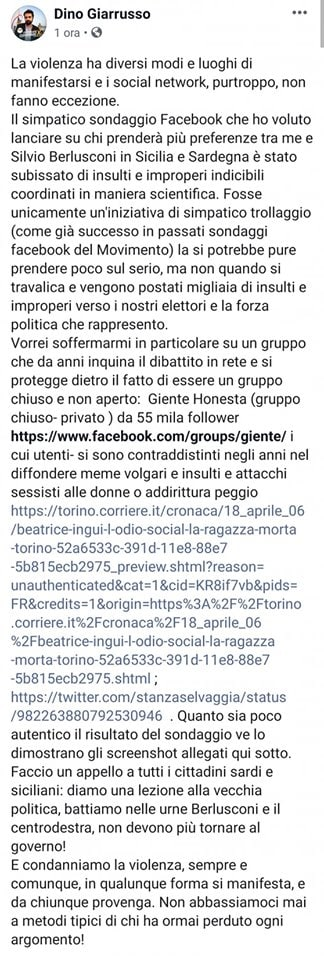 dino giarrusso sondaggio troll - 1