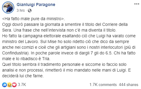 gianluigi paragone dimissioni - 1