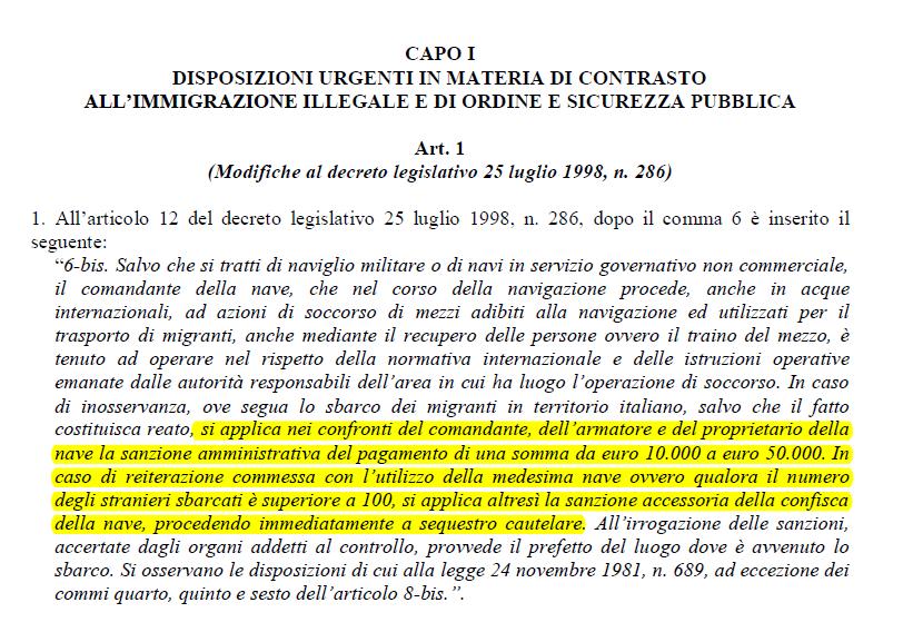 multe ong salvini decreto sicurezza - 1