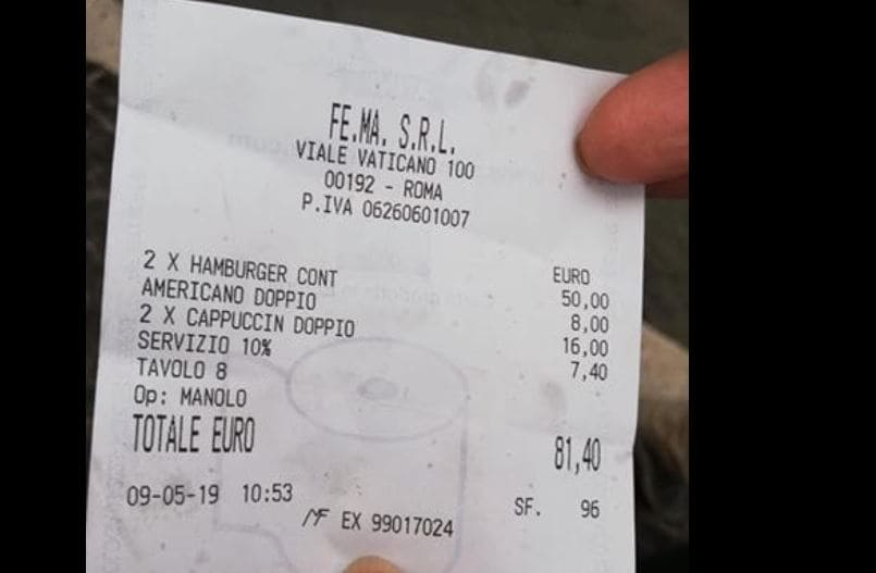 scontrino 81 euro hamburger cappuccino
