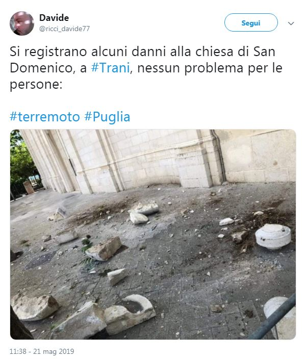terremoto barletta trani danni chiesa