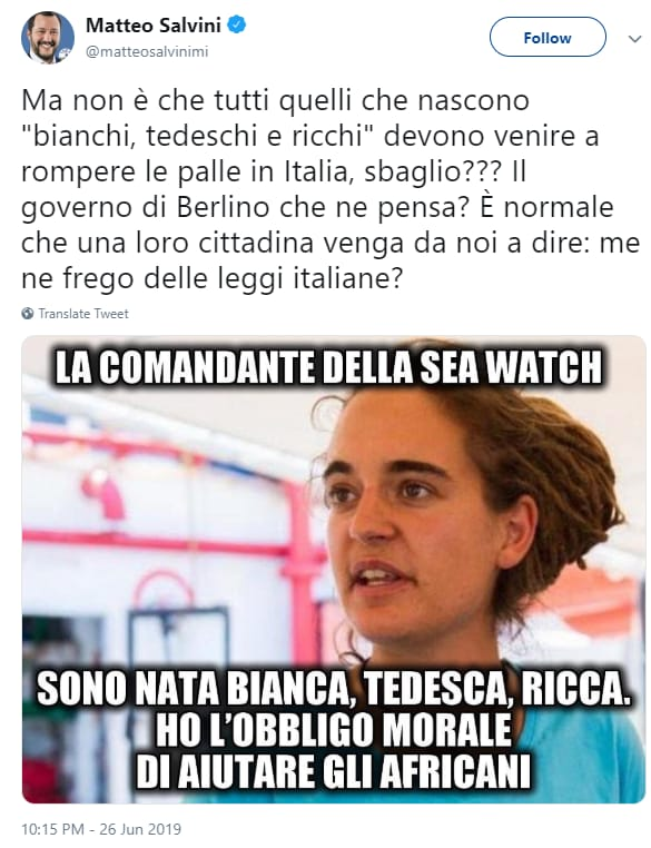 Carola Rackete sea watch salvini gogna - 1