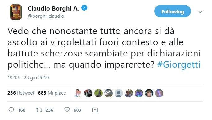 La risposta di Borghi a Giorgetti sui minibot