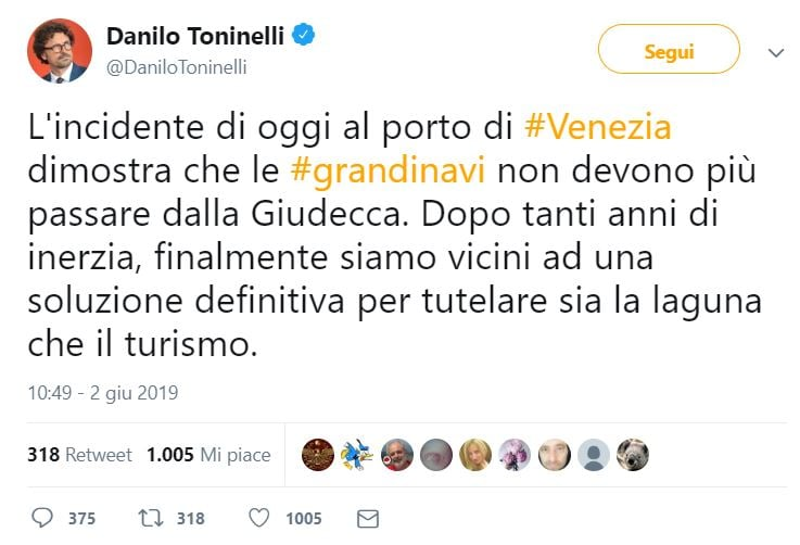 Incidente Venezia, Toninelli: via le grandi navi,