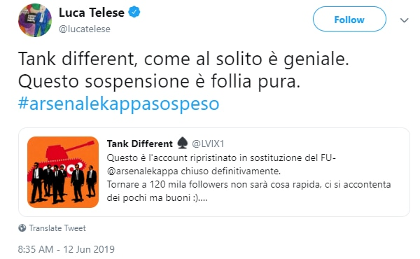 luca telese arsenale k tank different blocco twitter - 1