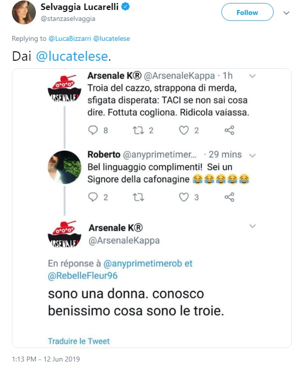 luca telese arsenale k tank different blocco twitter - 5