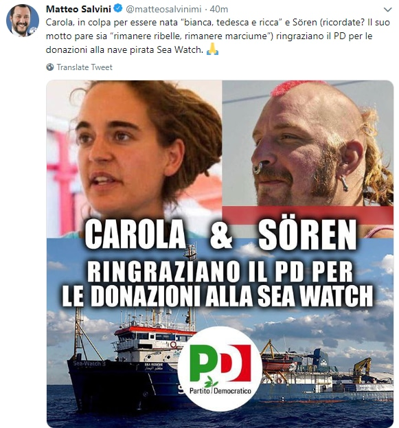 salvini sea watch carola rackete fesso - 3