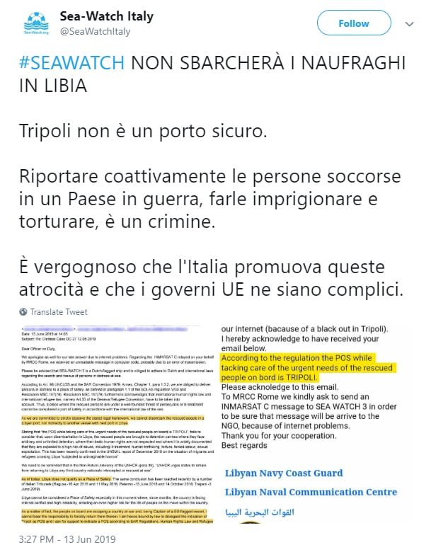 salvini sea watch vite migranti ong libia - 2