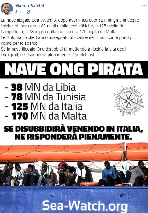salvini sea watch vite migranti ong libia - 3