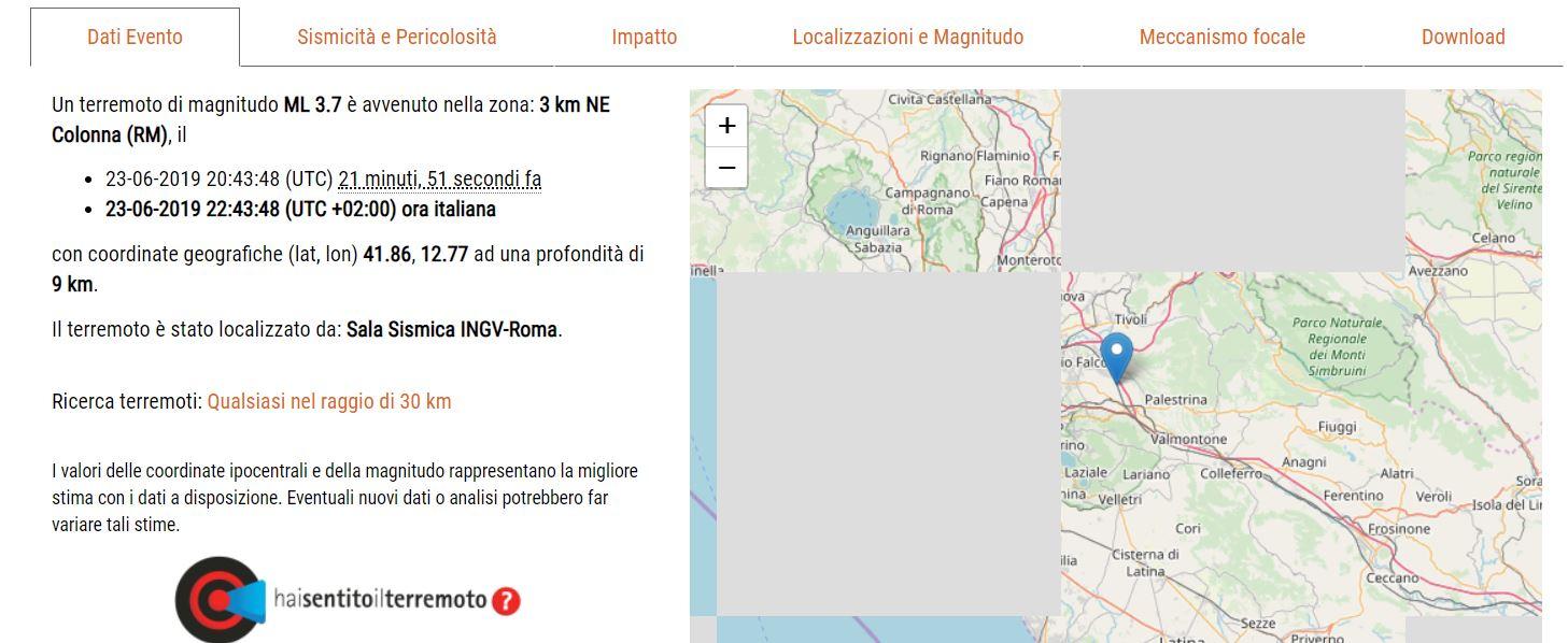 terremoto a roma ingv
