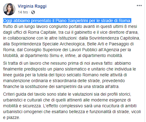 virginia raggi siampietrini centro roma strade - 1