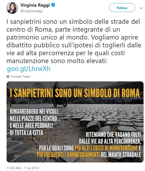 virginia raggi siampietrini centro roma strade - 3
