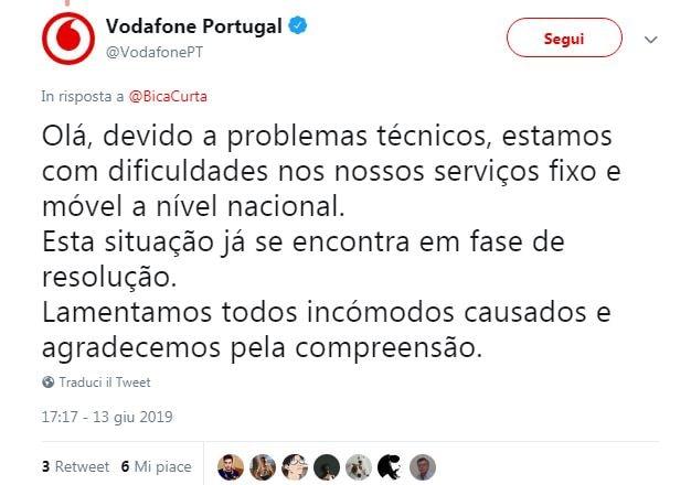 vodafone down 13 giugno 2019