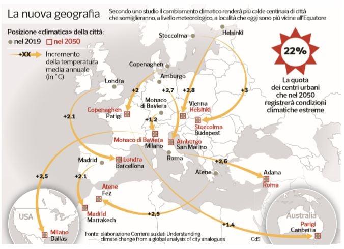 città più calde 2050