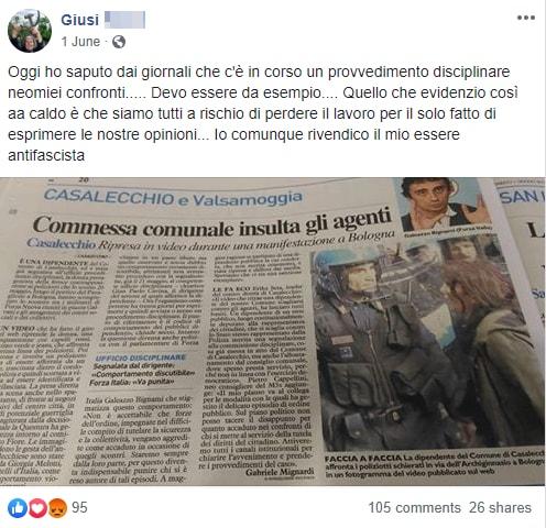 giusy impiegata antifascista bologna procedimento disciplinare - 5