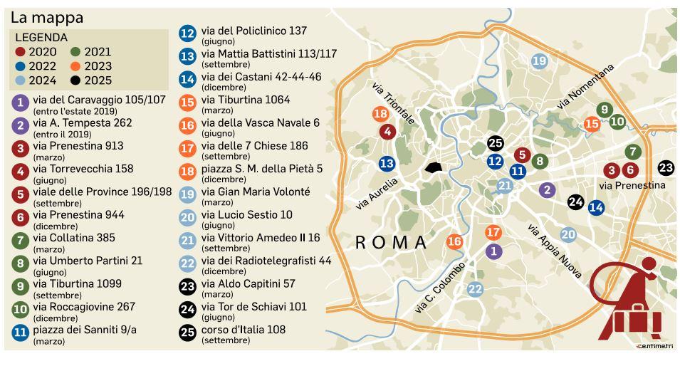 mappa sgomberi roma