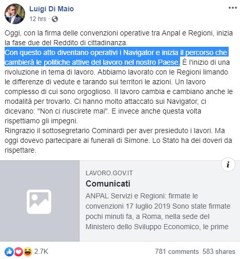 navigator idonei senza posto anpal di maio reddito cittadinanza - 2