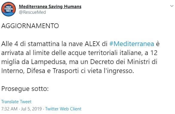Ong sbarca a Lampedusa altri 54 migranti. Salvini voleva deviarli a Tunisi
