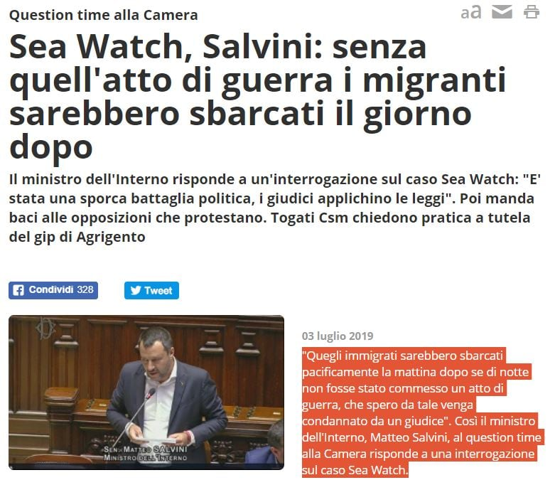 salvini sea watch 3