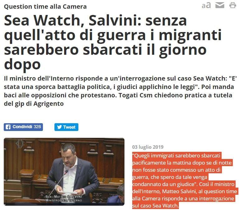 Sea-Watch, Salvini: