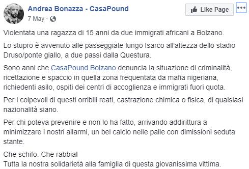stupro bolzano nigeriani bufala - 2