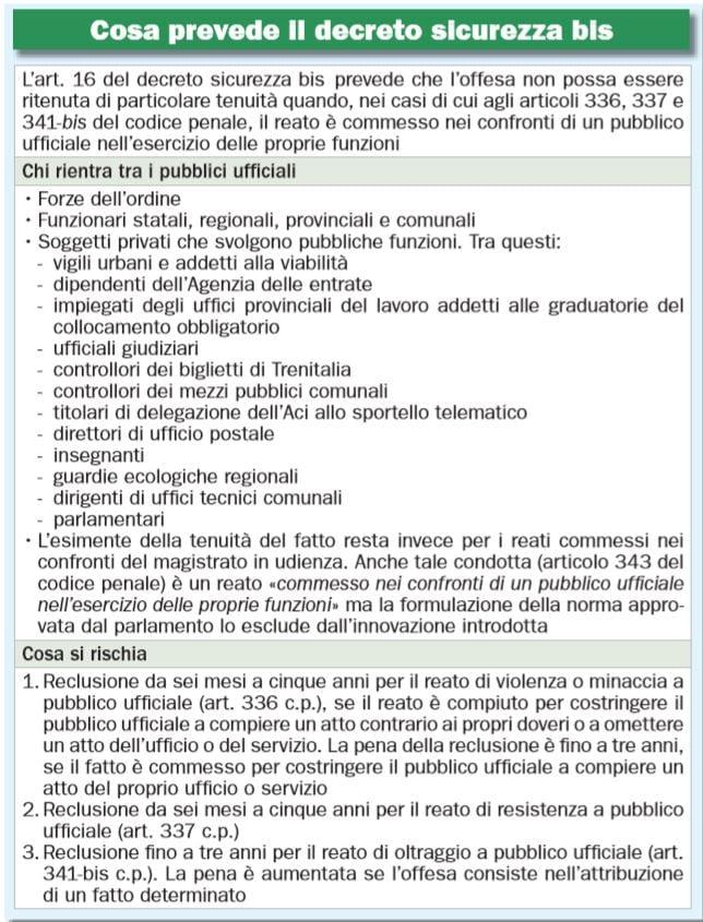 decreto sicurezza bis pubblici ufficiali