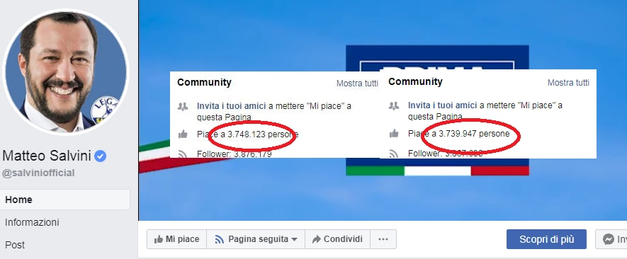 matteo salvini pagina fan perde diecimila fans
