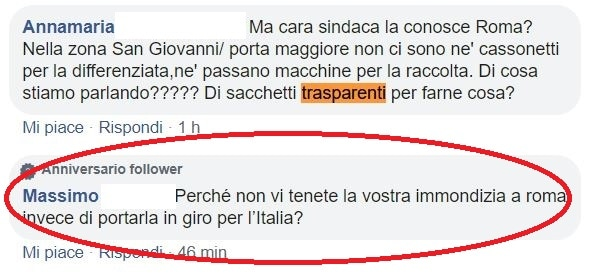 raggi sacchetti trasparenti roma