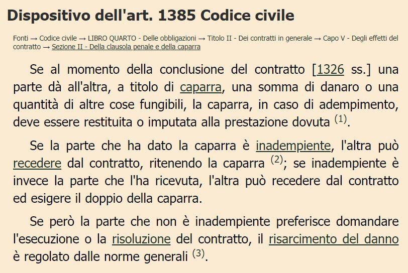 articolo 1385 codice civile