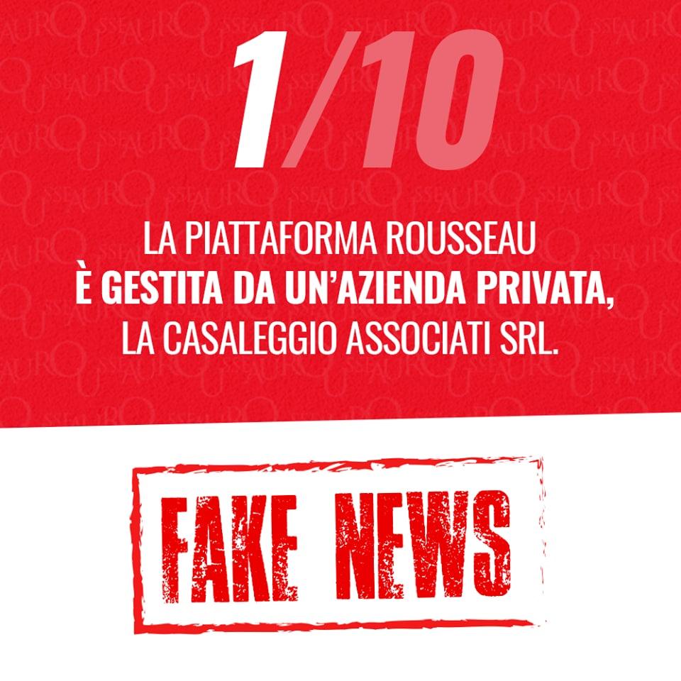 associazione rousseau casaleggio fake news