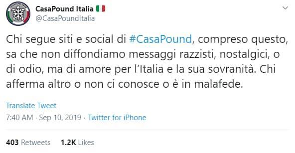 casapound ban facebook rosicata - 1