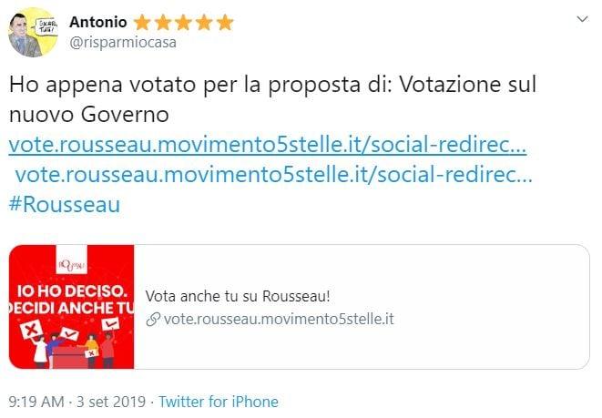 rousseau down voto governo m5s-pd 3