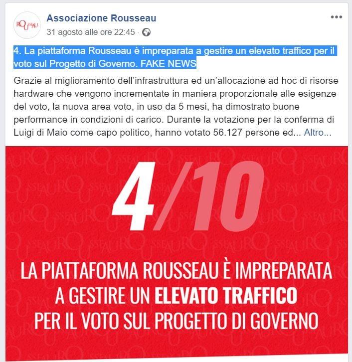 rousseau down voto governo m5s-pd