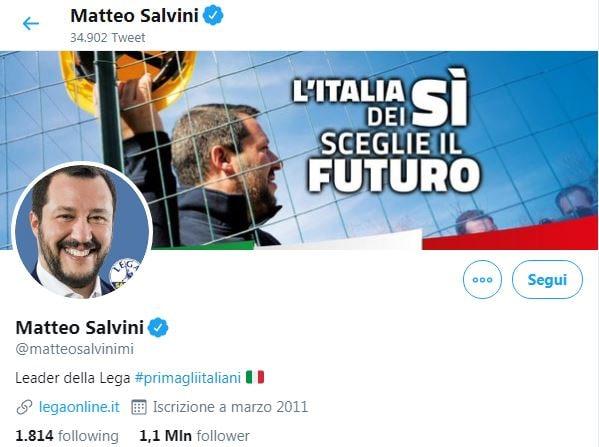 salvini bio twitter