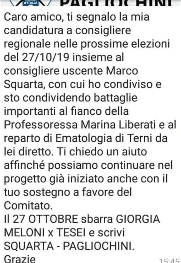 fratelli d'italia voti malati cancro umbria 1