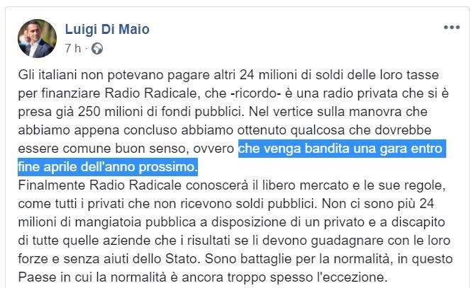 luigi di maio soldi radio radicale