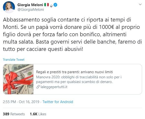 meloni mille euro contante monti -2