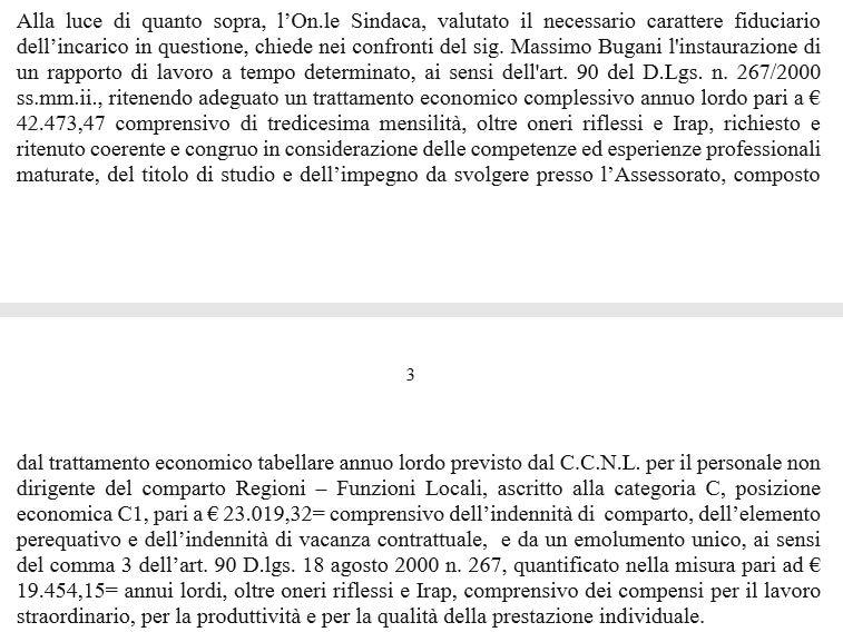 stipendio bugani comune di roma
