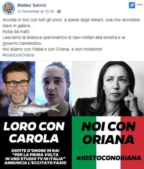 Salvini rackete fazio rai classifica - 1