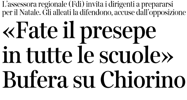 assessore fratelli d'italia presepe obbligatorio