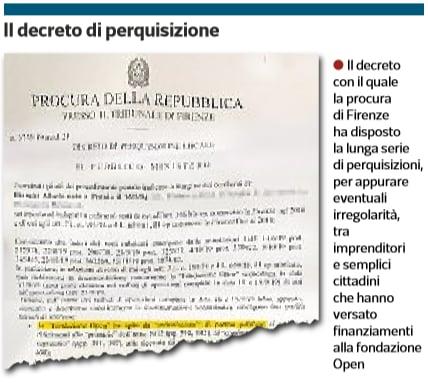 decreto perquisizione fondazione open