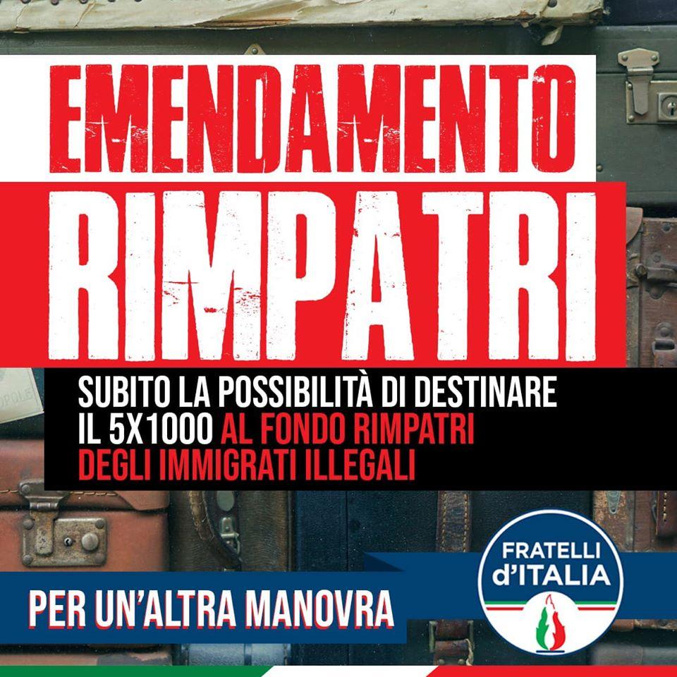 emendamento rimpatri 5 per mille fratelli d'italia