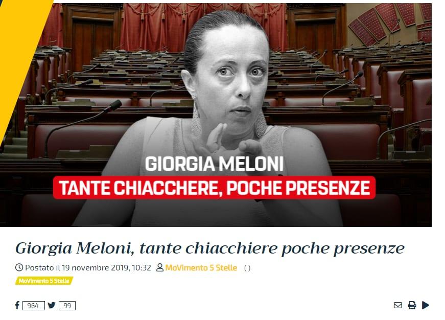 Giorgia Meloni, il selfie contro M5s è al