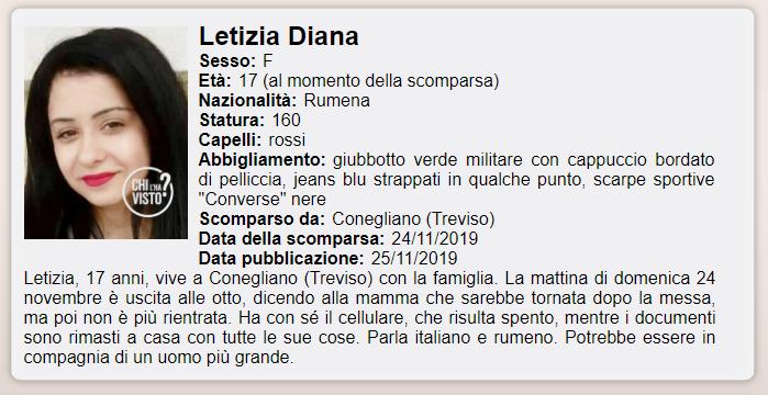 letizia diana david scomparsa conegliano - 1