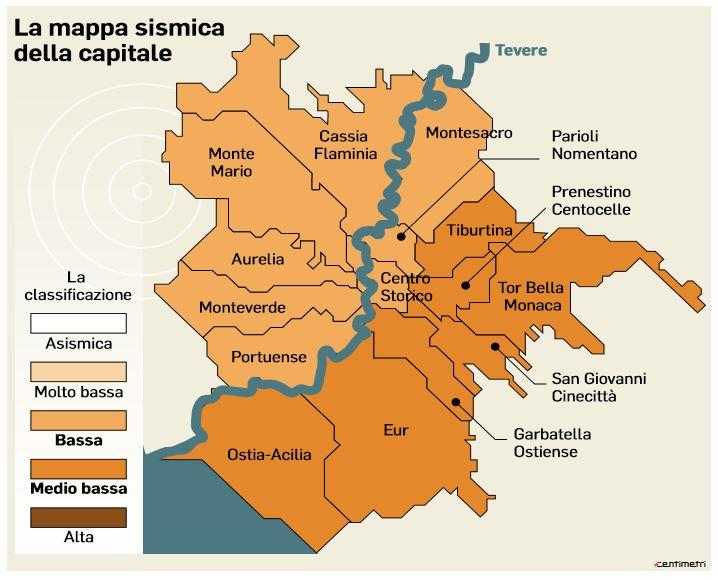 mappa sismica di roma