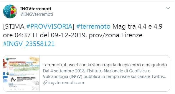 Terremoto a Firenze 9 dicembre 2019